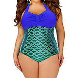 Maillot de bain  1 piece Bleu Vert Métal Siréne Sexy XL