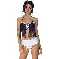 Maillot de bain 2 Pieces Bikini Blanc Bleu Marine frange XL