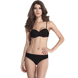 Maillot 2 pieces Néoprène noir push-up bandeau Classe Bikini XL