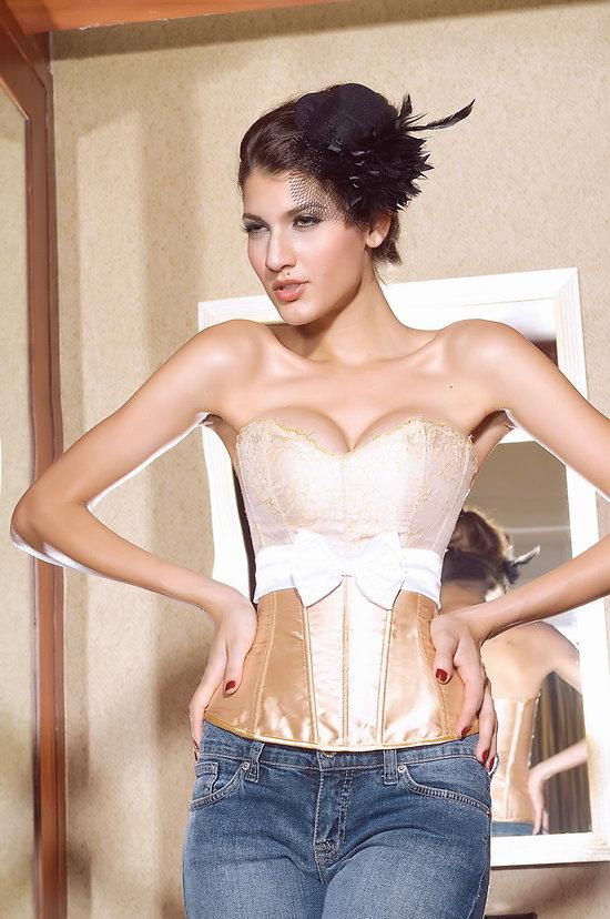 Superbe Marilyne Monroe  boudoir corset Dentelle blanc Or XL