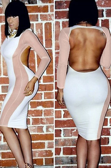 Robe Blanc Mesh Couture Plantureuse Midi Dress Moulante sexy grande taille L XL