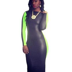 Robe midi Noir Vert dos échancré simili-cuir moulante sexy grande taille L XL