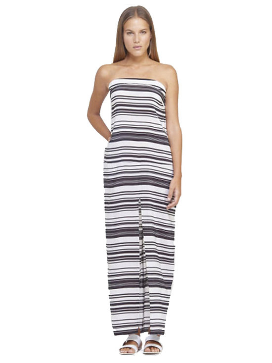 Robe Longue Maxi sans bretelles imprimée grande taille One Size Noir blanc