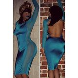 Robe moulante Sexy bleu turquoise dos nue grande taille XL