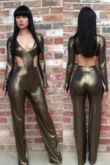 Robe combinaison métal or argent elegante sexy jumpsuit grande taille L XL