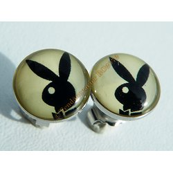 Boucles d'Oreilles Clous Acier Inoxydable Lapin Playboy Noir Sur Blanc