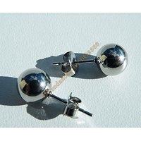 Boucles d'Oreilles Clous Boules Perles 8 mm Pur Acier Inoxydable Argenté Brillant