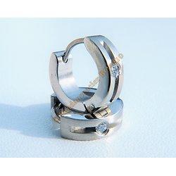 Boucles d'Oreilles Acier Inoxydable Créoles Argenté 1 Découpe Diamant Zc Strass