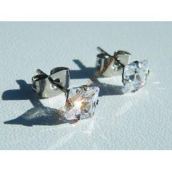 Boucles d'Oreilles Acier Inoxydable Clous Strass Gros Diamant Zircon 5 mm