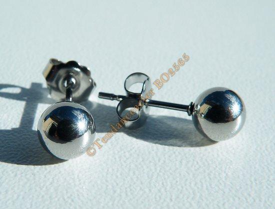 Boucles d'Oreilles Clous Boules Perles 6 mm Pur Acier Inoxydable