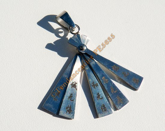 Pendentif Pur Acier Inoxydable Eventail Asie Idéogrammes Japon Proverbe Lin Dao