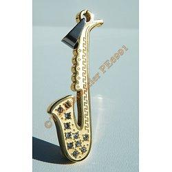 Pendentif Musique Saxo Saxophone Pur Acier Inoxydable Plaqué Or 11 Zirconias Strass