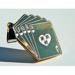Pendentif Pur Acier Inoxydable Poker 5 Cartes Doré Plaqué Or 3 Strass Zirconium