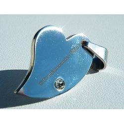 Pendentif Pur Acier Inoxydable Argenté Coeur Love Original Strass Zirconium