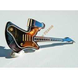 Pendentif Pur Acier Inoxydable Goré Plaqué Or et Argenté Guitare Rock Gibson