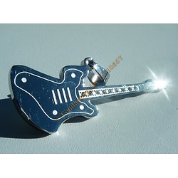 Pendentif Acier Inoxydable Guitare Argentée 9 Strass Zirconium Instrument Musique