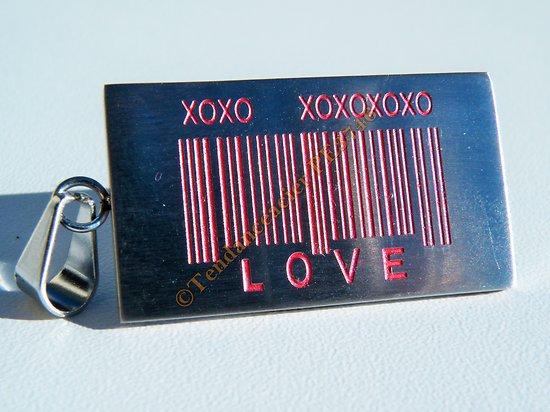 Pendentif Pur Acier Inoxydable Love Argenté et Rose Code Barre Amour X O