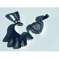 2 Pendentifs Saint Valentin Acier Inoxydable Main et Coeur Love 8 Zirconium Strass