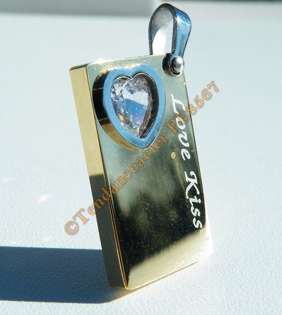 Pendentif Acier Inoxydable Love Kiss Plaqué Or Lingot Gold Diamant Zirconia