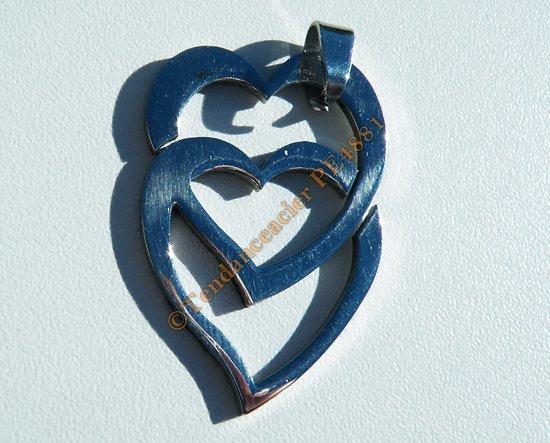 Pendentif Argenté Pur Acier Inoxydable 2 Coeurs Entrelaçés Love Saint Valentin
