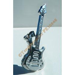 Pendentif Pur Acier Inoxydable Guitare Rock Tout Argenté Rock'n'roll