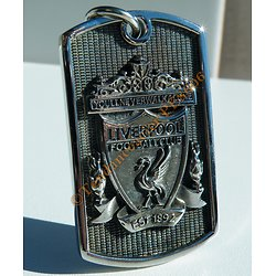 Pendentif Pur Acier Inoxydable Plaque Football Liverpool Rouge Les Reds Relief