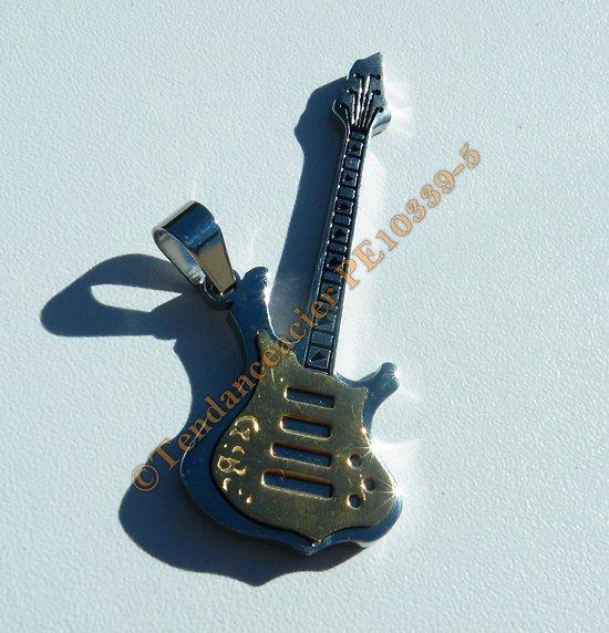 Pendentif Pur Acier Inoxydable Guitare Plaqué Or Argenté Rock Music Live