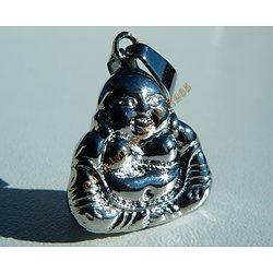 Pendentif Pur Acier Inoxydable Argenté Bouddha Fengshui Yin Yang Religion Tibet