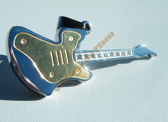 Pendentif Acier Inoxydable Guitare Musique Plaqué Or Argenté 9 Zirconias Strass