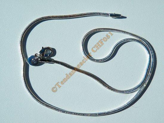 Chaine Collier 45 cm Serpentine Plaqué Argent 925 1,5 mm