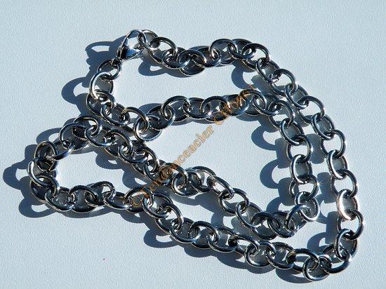 Chaine Collier Acier Inoxydable Ovales Anneaux Argenté Brillant 53 cm