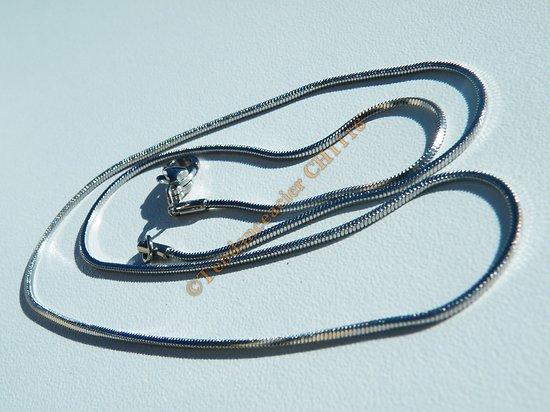 Collier Chaine 45 cm Serpentine Argenté Acier Inoxydable Maille Serpent 1 mm