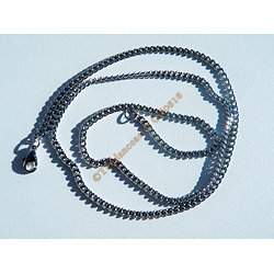 Collier Chaine Acier Inoxydable 49 cm Maille Gourmette Fine Plate 2 mm
