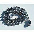 Collier Dog Tag Argenté Chaine Longue 60 cm Acier Inoxydable Boules 6 mm