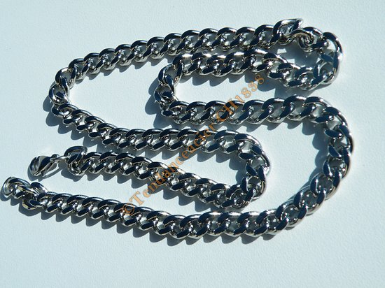 Collier 51 cm Chaine Maille Gourmette Plate 6 mm Acier Inoxydable