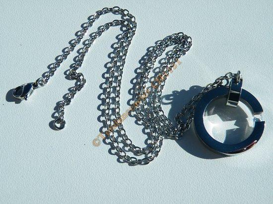Collier 51 cm Pur Acier Inoxydable 2 Anneaux Diamant Strass Zircon Valentin
