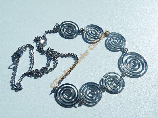 Collier Pure Acier Inoxydable Chaine Fine 7 Spirales 52 cm