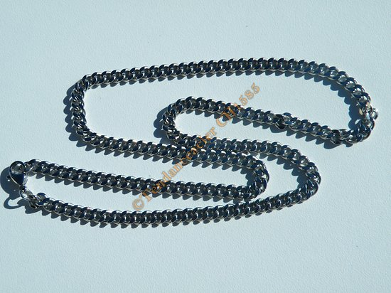 Collier Chaine 50 cm Maille Gourmette Plate Acier Inoxydable 4 mm