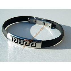 Bracelet Acier Inoxydable Caoutchouc Silicone Souple Plaque Découpe Tribal Celte 22 cm