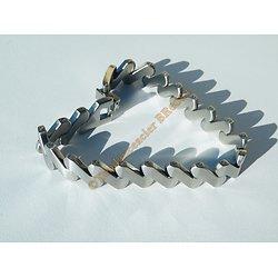 Bracelet Gourmette Pur Acier Inoxydable Maille 12 mm Zig Zag Goutte Argenté Femme 20 cm