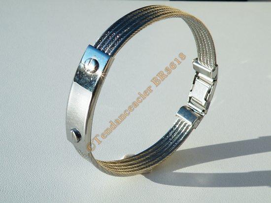 Bracelet Gourmette Pur Acier Inoxydable Wire 5 Corde Plaque 2 Vis Argenté Brillant 20 cm