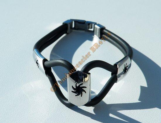 Bracelet Acier Inoxydable et Caoutchouc Silicone Plaque Découpé 3 Boules de Feu Tribal 21 cm