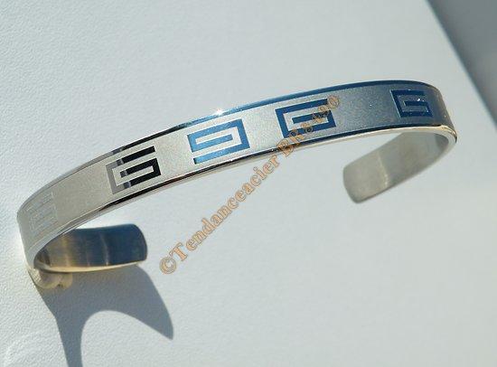 Bangle Bracelet Ouvert Ajustable Pur Acier Inoxydable Motif Laser Tribal Celte