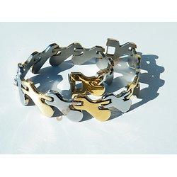 Bracelet Gourmette Pur Acier Inoxydable Argenté Plaqué Or Gouttes Zig Zag 23 cm