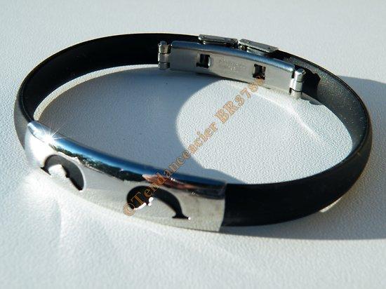 Bracelet Acier Inoxydable Caoutchouc Plaque 2 Dauphins Découpe Argenté 22 cm