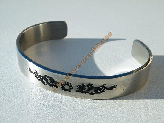 Bracelet BANGLE Argenté Pur Acier Inoxydable Ajustable 2 Dragons Tribal Noir