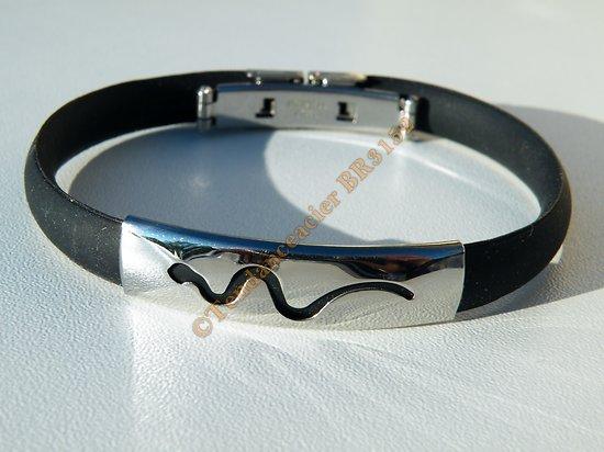 Bracelet Pur Acier Inoxydable Caoutchouc Souple Motif Serpent 22 cm Ajustable