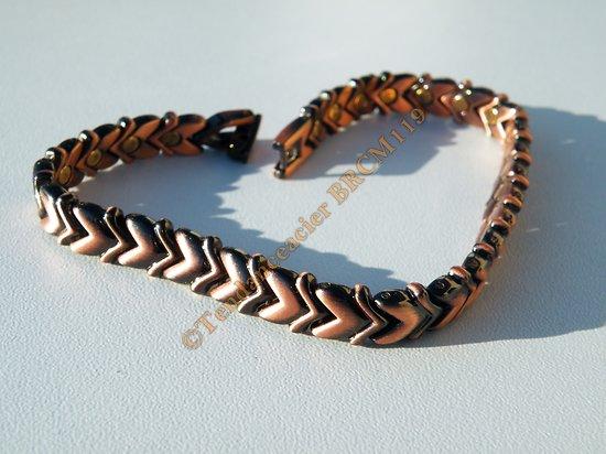 Bracelet Gourmette Fine Tressée Femme Pur Cuivre 28 Aimants Magnetothérapie