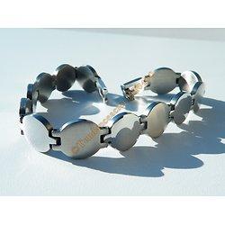 Bracelet Gourmette Pur Acier Inoxydable Femme Rond Ovale Argenté 12 mm