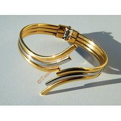 Bracelet Bangle Ouvert Jonc Acier Inoxydable Plaqué Or Argenté Top Mode